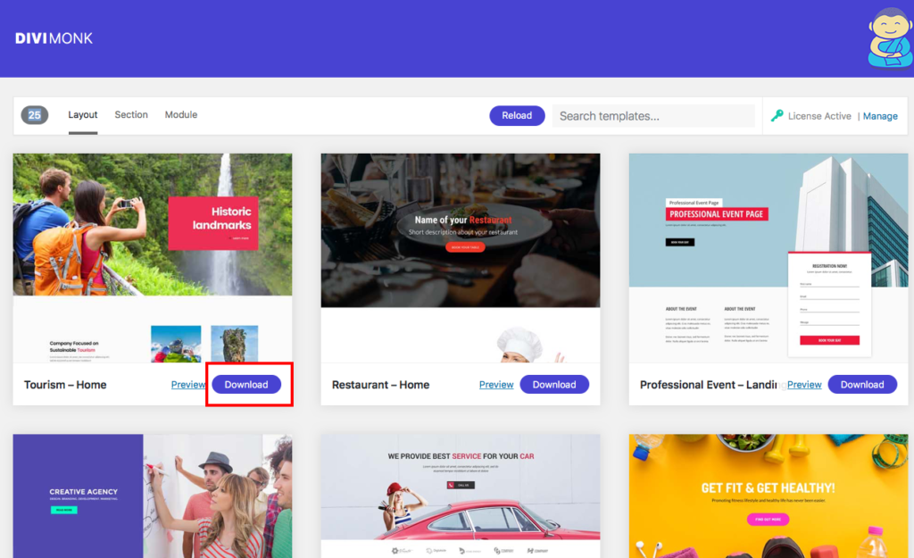 how to install download templates divi monk