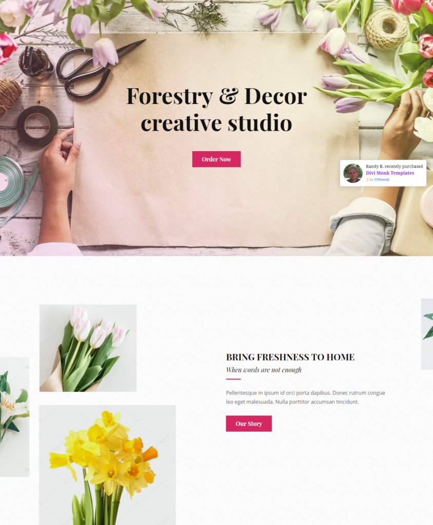 Hero section of Divi florist template
