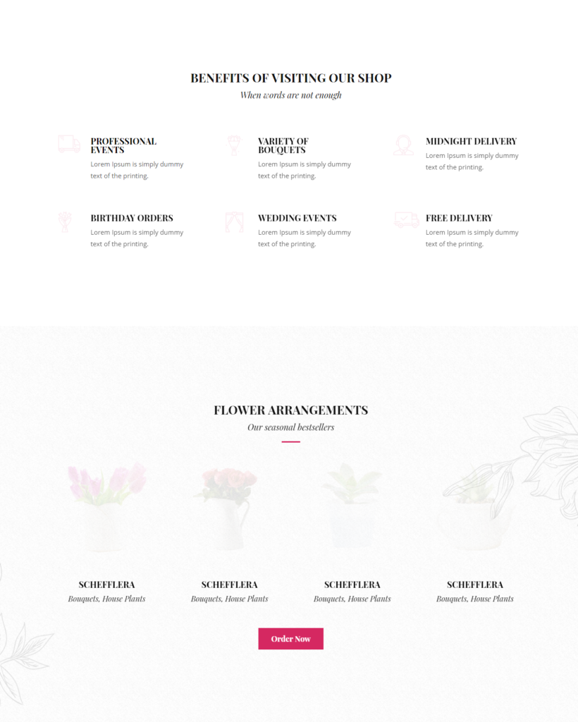 Service section of Divi florist template