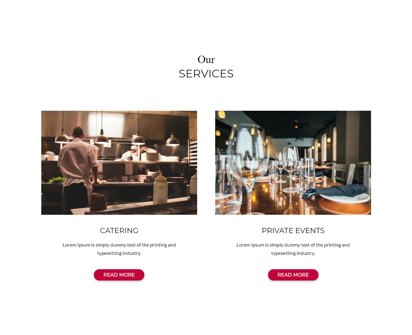 Service section of Divi Restaurant Template