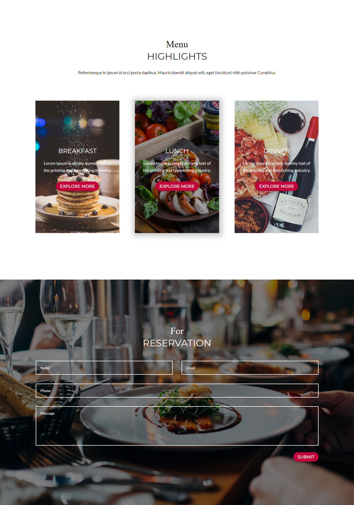 Menu section of Divi Restaurant Template