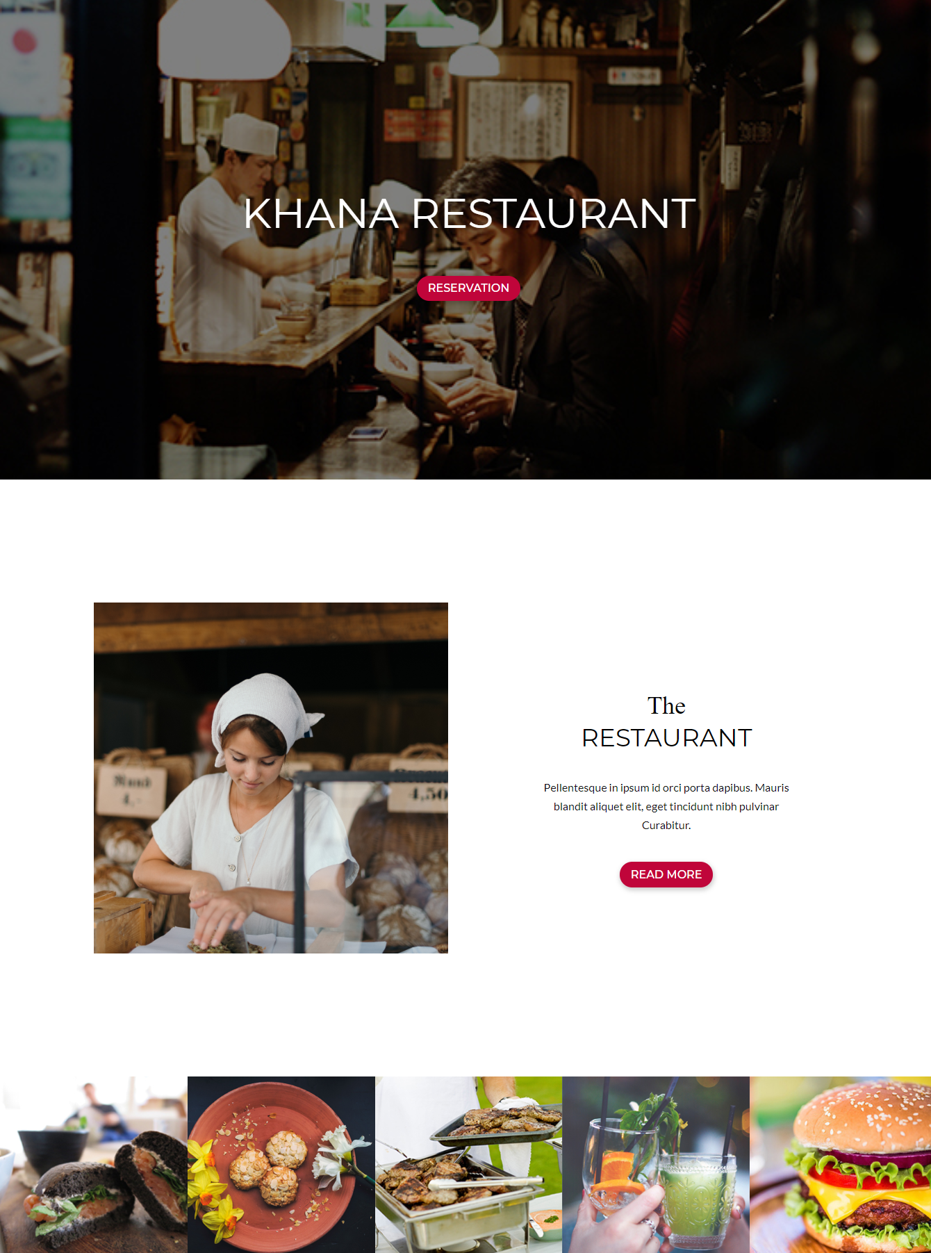 Hero section of Divi Restaurant Template