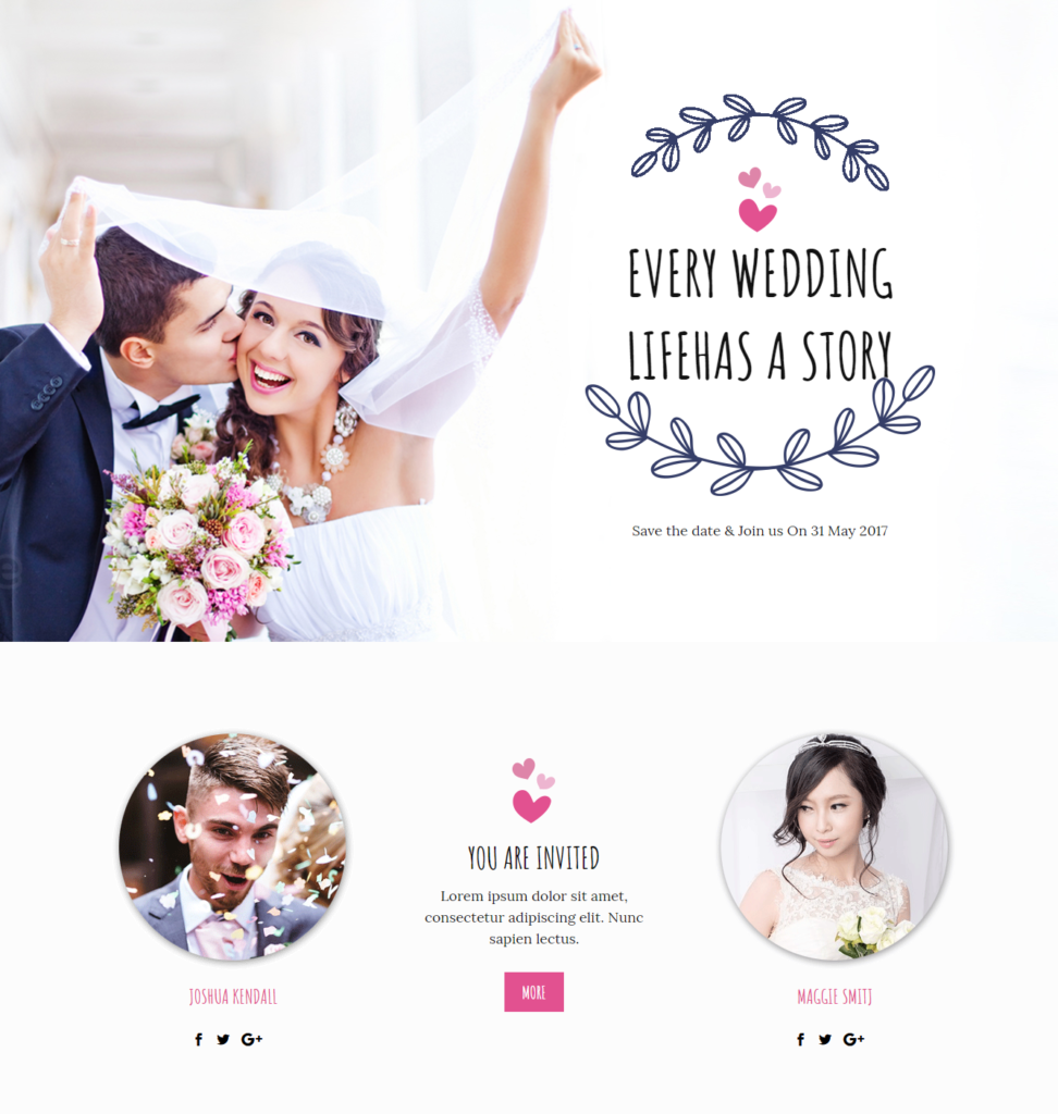 Hero section of Divi wedding template