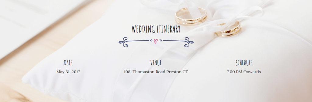 Itinerary section of Divi wedding template