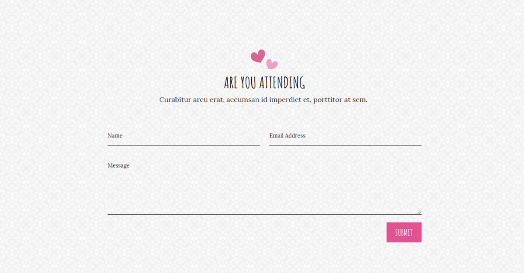 Contact from of Divi wedding template
