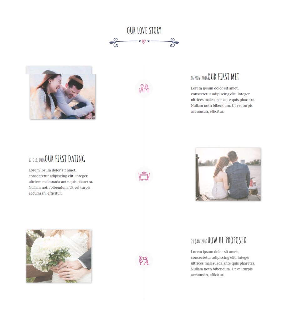 Timeline section of Divi wedding template