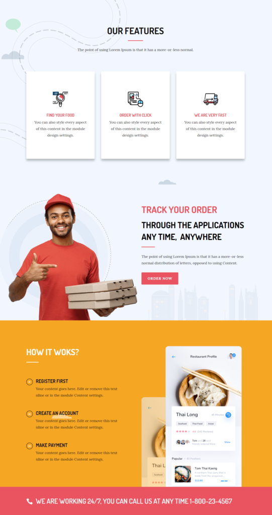 Features of divi food delivery template