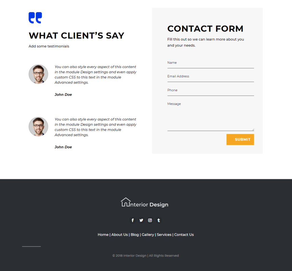 Contact section of divi interior design template