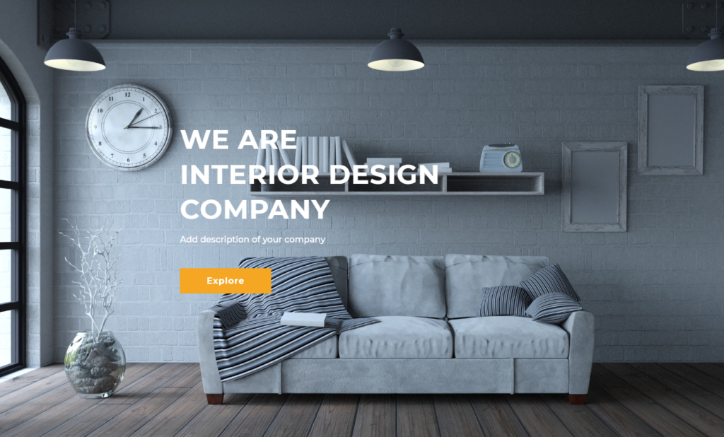 Hero section of divi interior design template