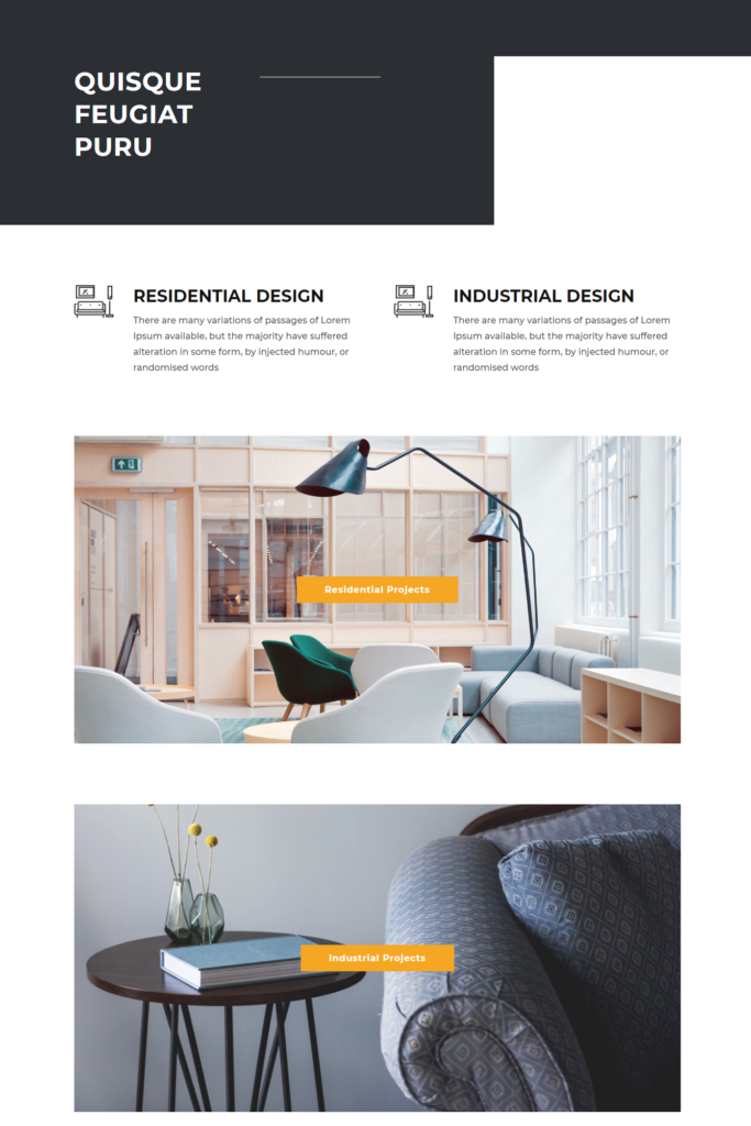 Service section of divi interior design template