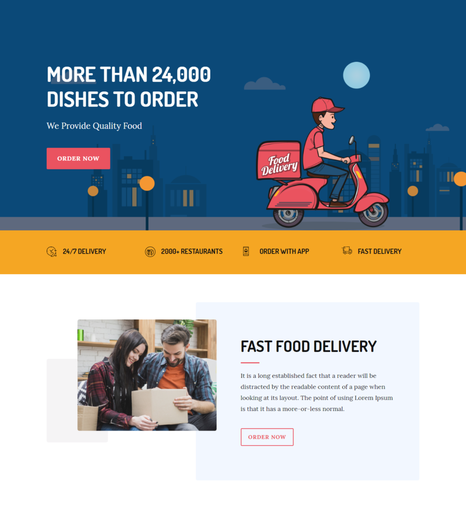 Hero section of divi food delivery template
