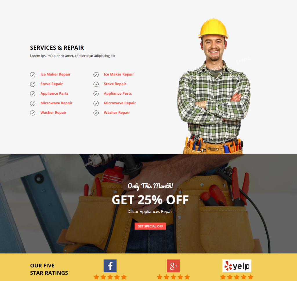 service section of Divi Appliance Repair Template