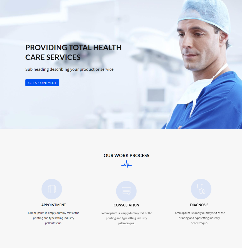 Hero Section Divi Medical Template