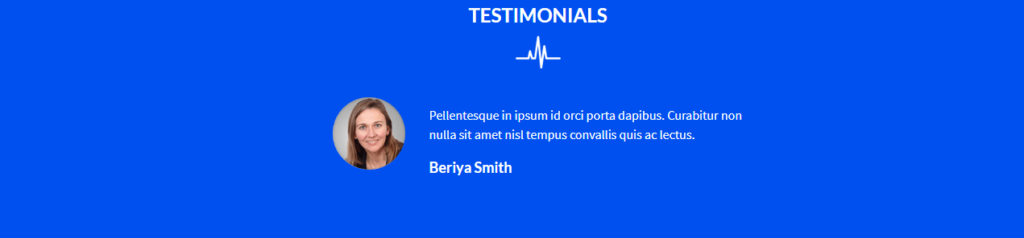 Testimonial section Divi Medical Template